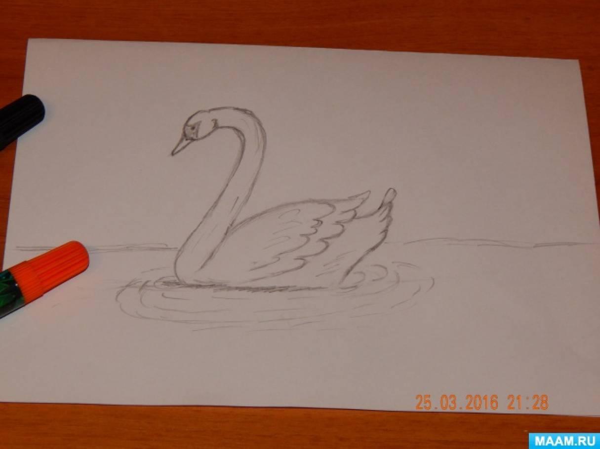 Рисуем лебедя. Мастер-класс