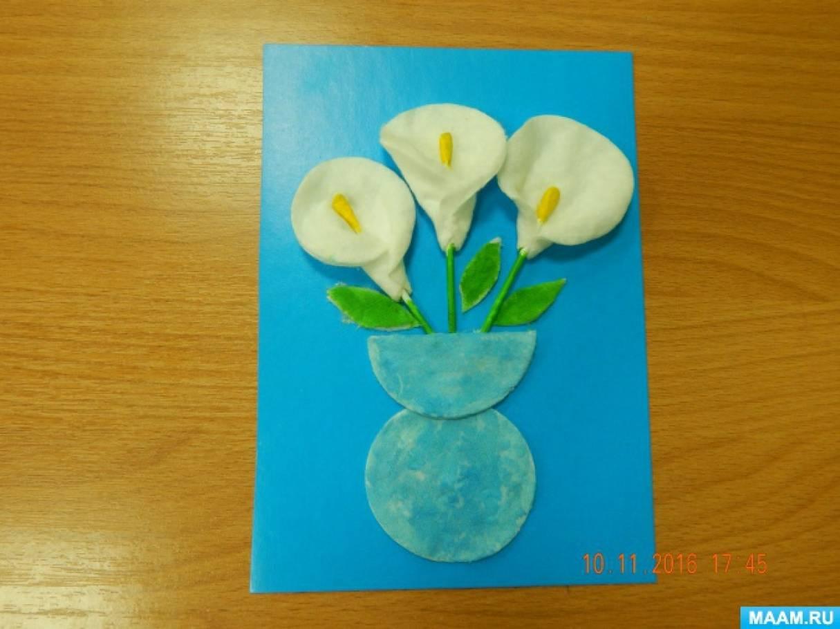 Как сделать открытку из ватных палочек и дисков 10
