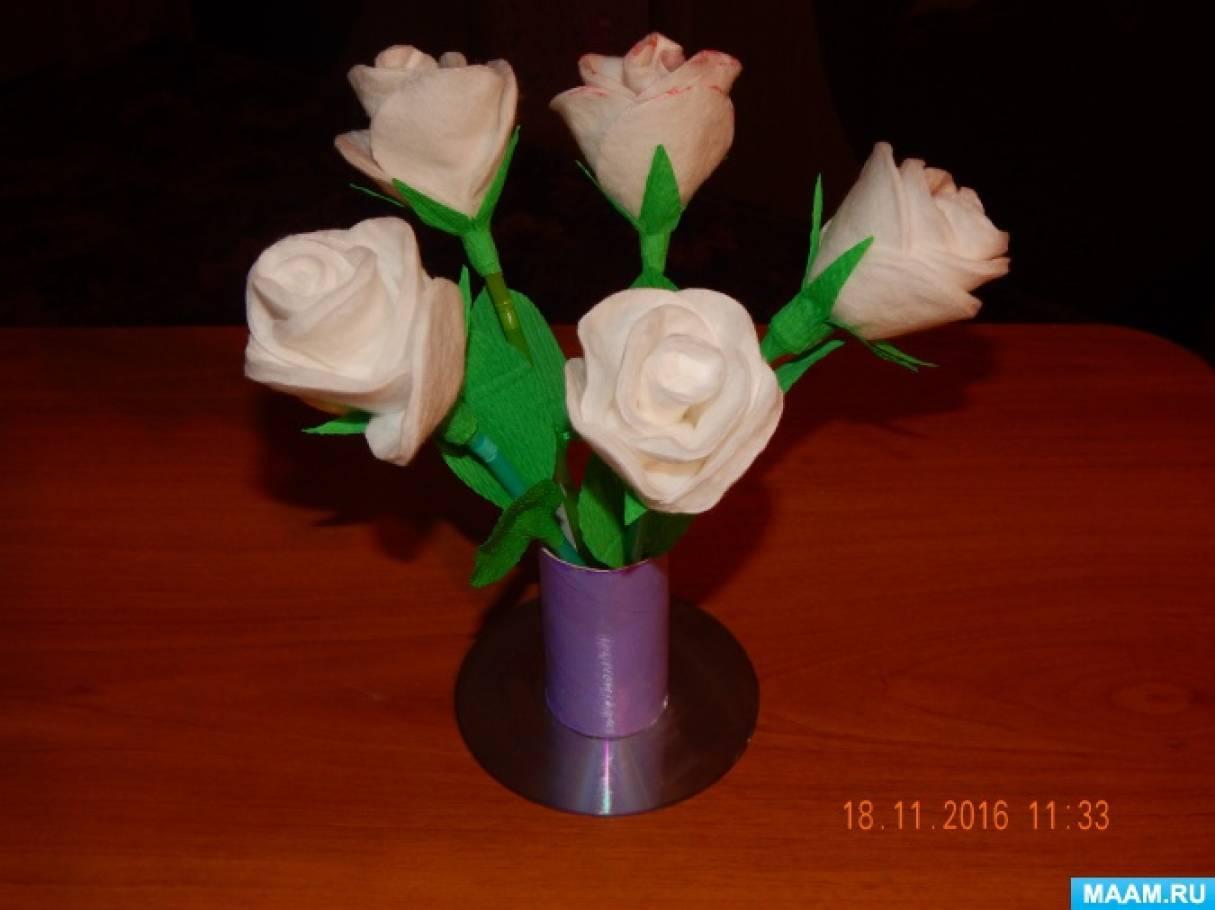 Розы из ватных дисков. Мастер-класс