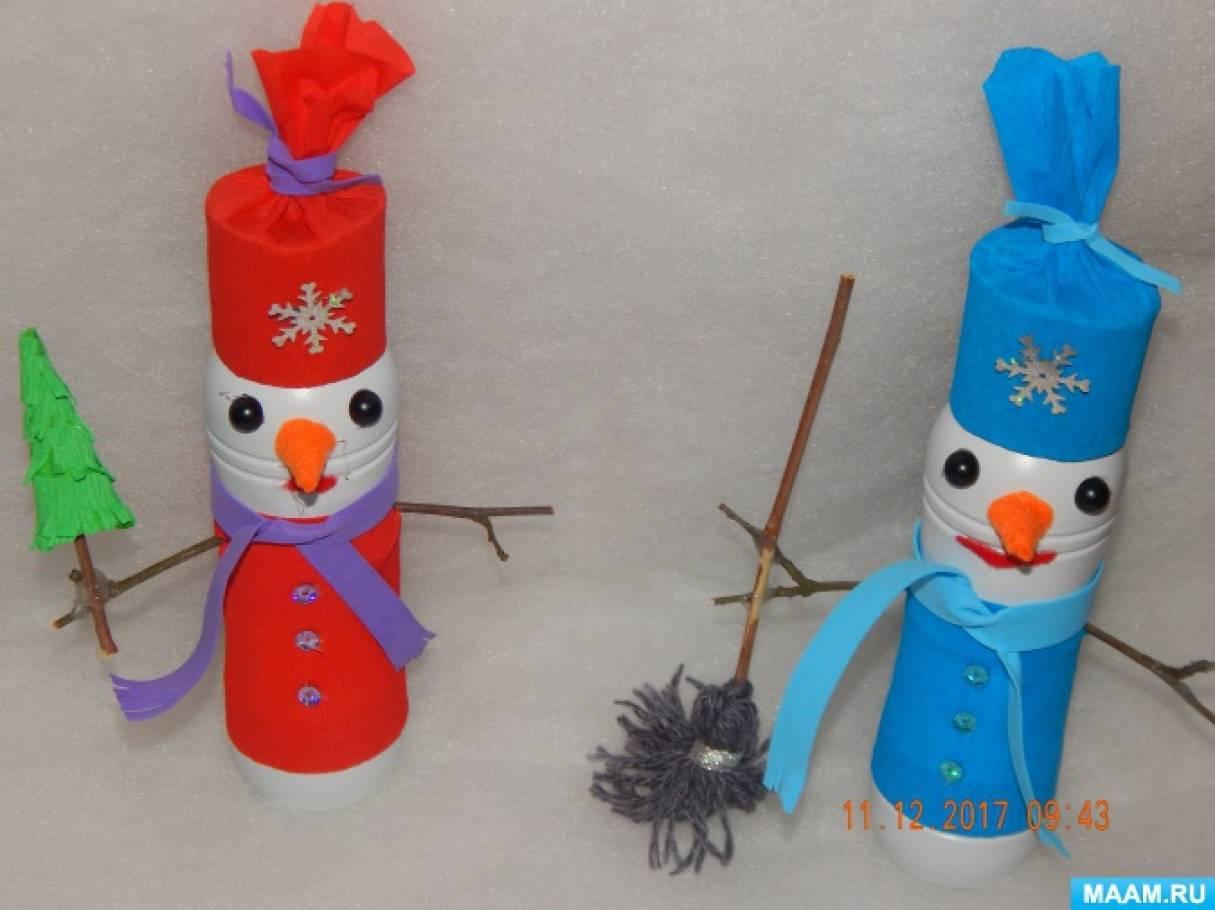 Мастер-класс «Снеговик и Снеговичка из бросового и природного материала»