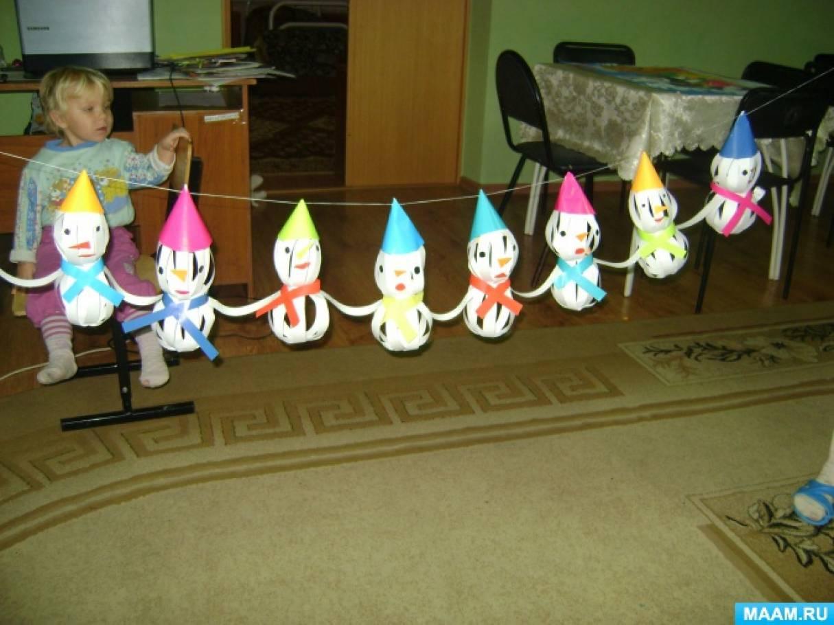 Детский мастер-класс. Коллективная работа по изготовлению гирлянды «Хоровод снеговиков»