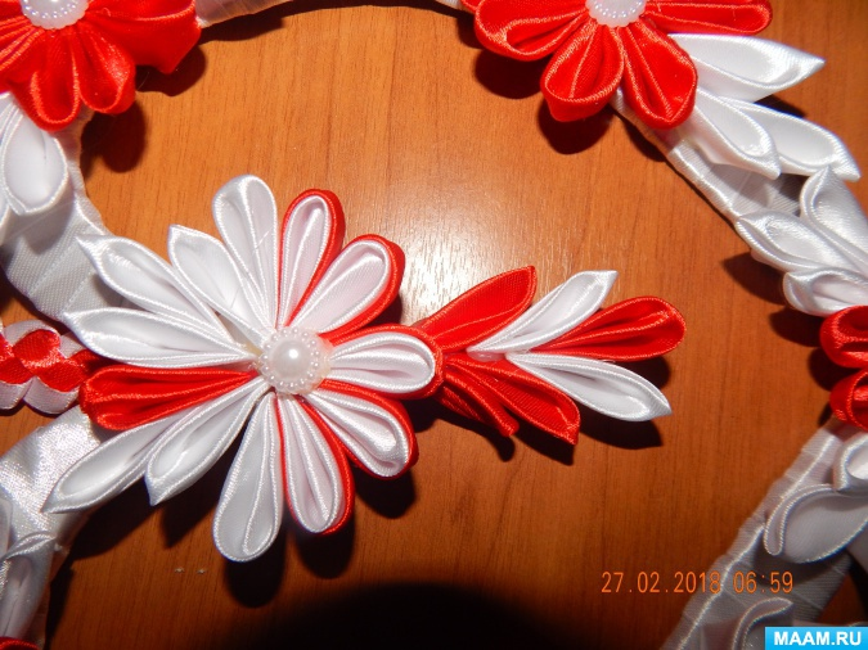 Мастер-класс изготовления панно «Сердечко в технике «канзаши»