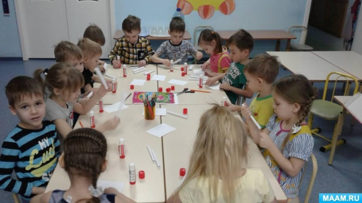 Коллективное конструирование из бумаги для детей старшей группы «Избушка для животных» по РНС «Зимовье зверей»