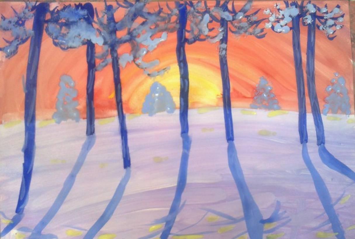 Как нарисовать пейзаж гуашью поэтапно для начинающих | 455x675
