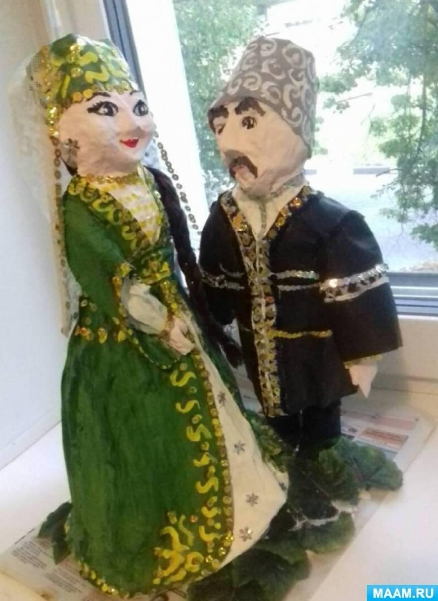 Куклы из папье-маше на конкурс народных костюмов