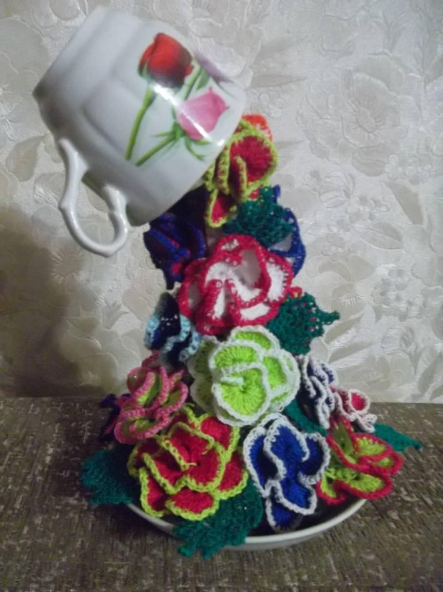 мастер класс по вязанию крючком необычные цветы из ниток