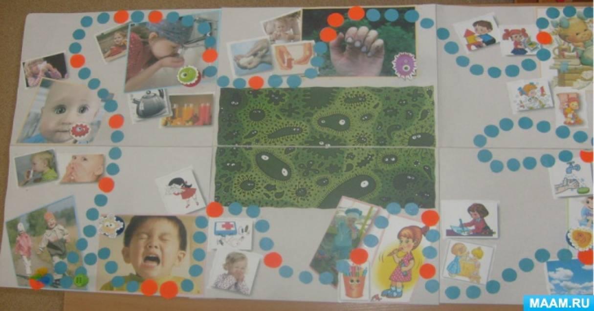 Создание настольной игры-ходилки «Сбежавшие микробы» с детьми старшего дошкольного возраста.
