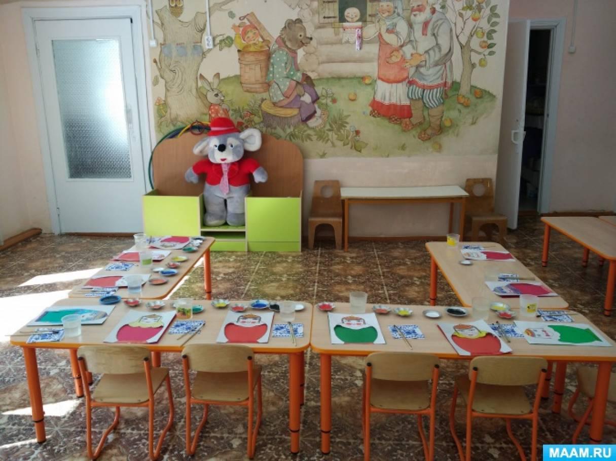 Фотоотчет о занятии по рисованию «Пестрядинная ткань улача для чувашской матрёшки»