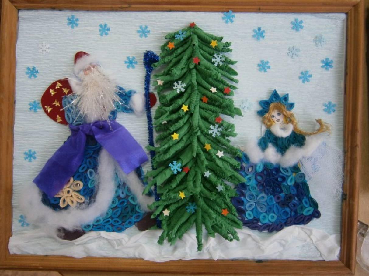 Мастер-класс: коллективная работа «Дед Мороз и Снегурочка» в технике квиллинга с использованием гофротрубочек