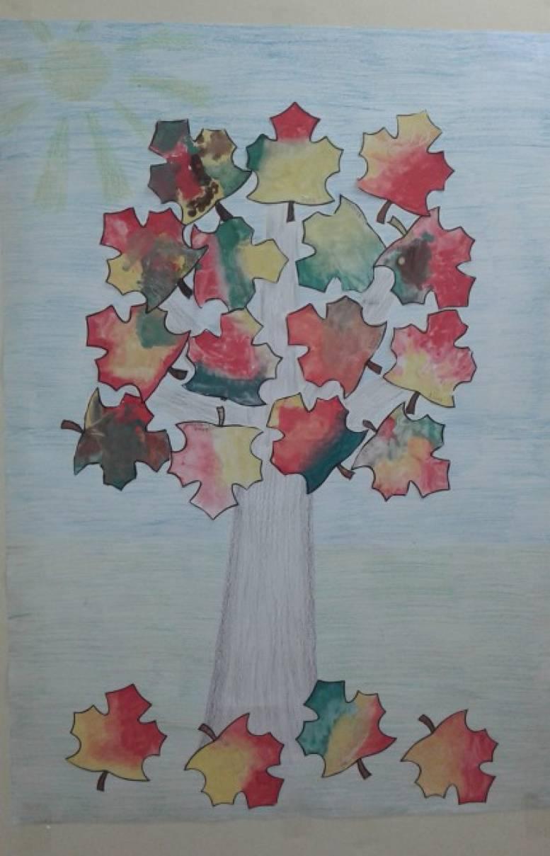 Аппликация с элементами рисования «Осенний клен». Коллективная работа
