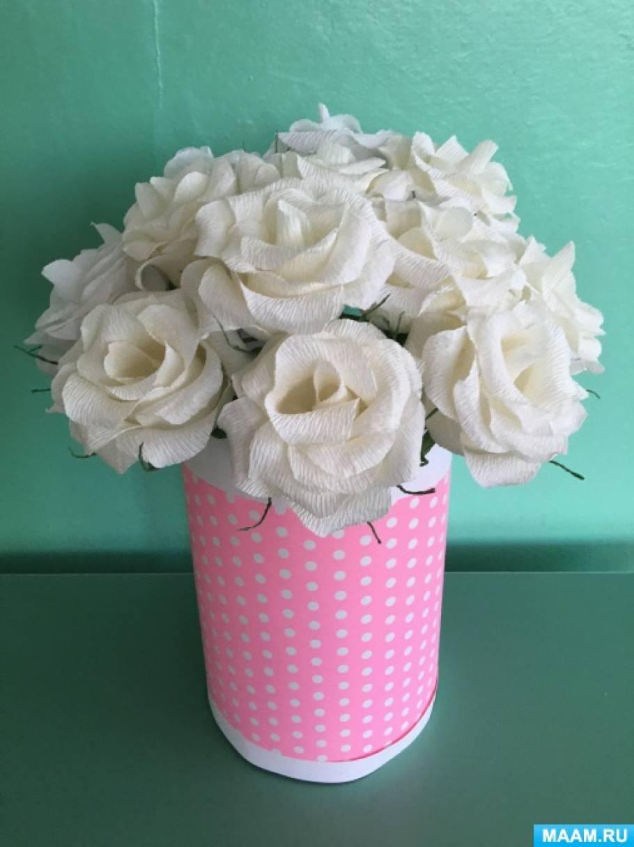 Мастер-класс по изготовлению из гофробумаги белой розы для акции «Белый цветок»