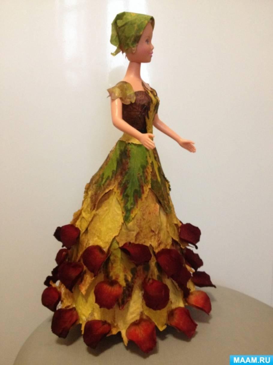 Осенние поделки кукла с листьями 25