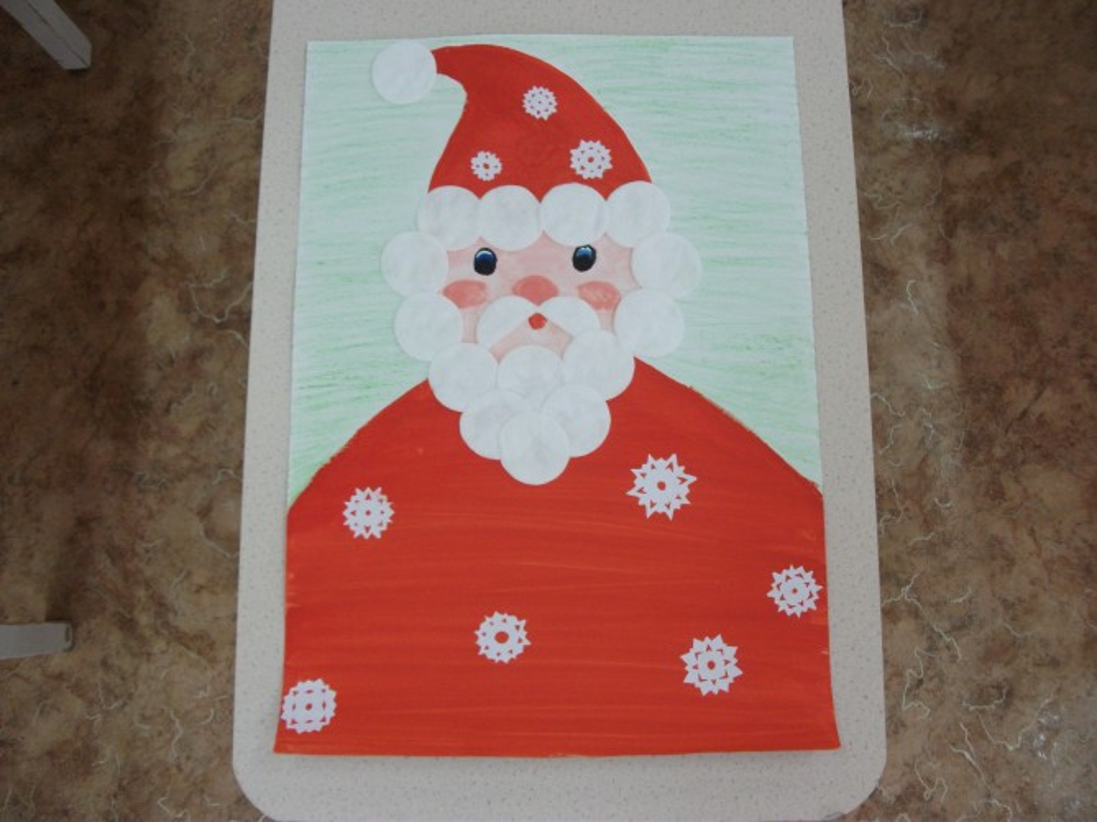 Смешная картинка, открытка дед мороз своими руками из ватных дисков