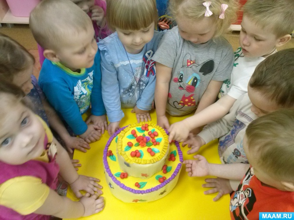 Модель занятия по лепке из пластилина «Вишенки для именинного торта» для младшего дошкольного возраста