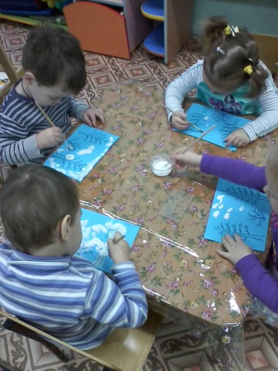 Конспект по рисованию во второй младшей группе на тему снежинки