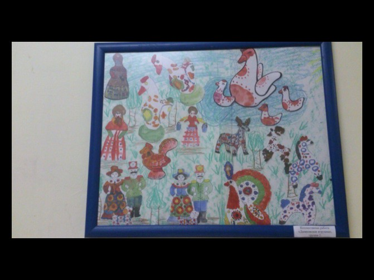 Конспект занятия по рисованию в старшей группе «Дымковская слобода (деревня)» (Коллективная работа)