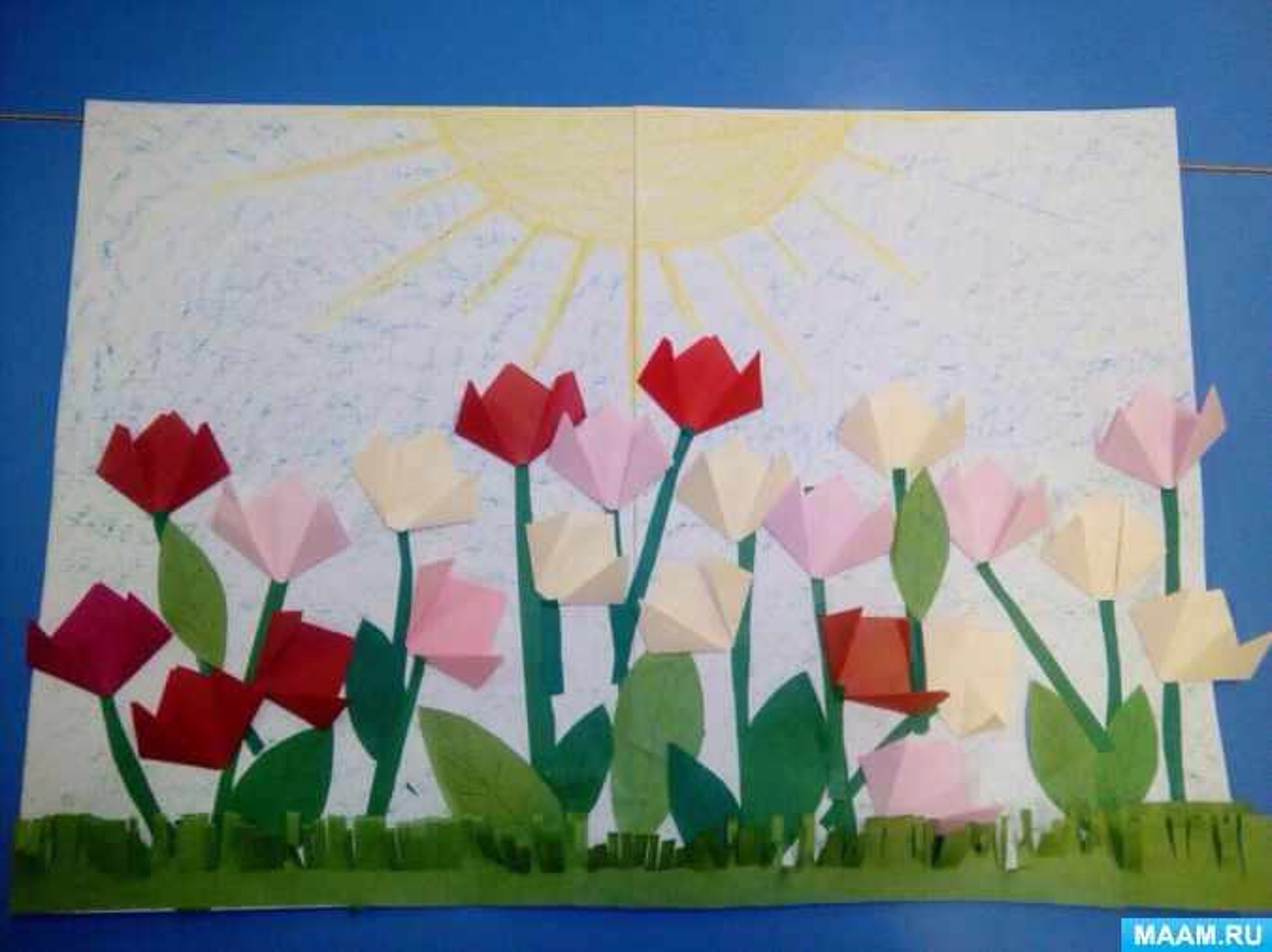 Конспект занятия по аппликации в средней группе. Коллективная работа «Цветут тюльпаны»