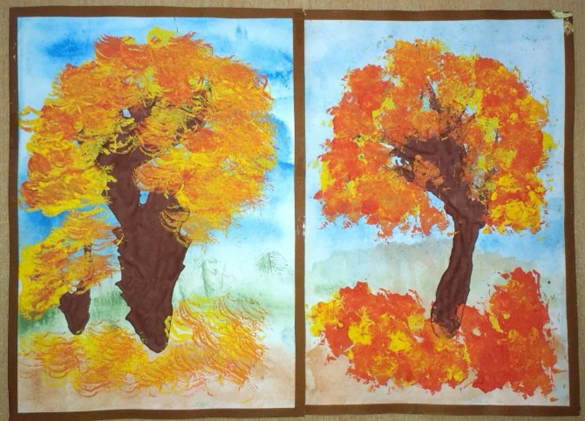 Осеннее дерево рисунок для детей красками