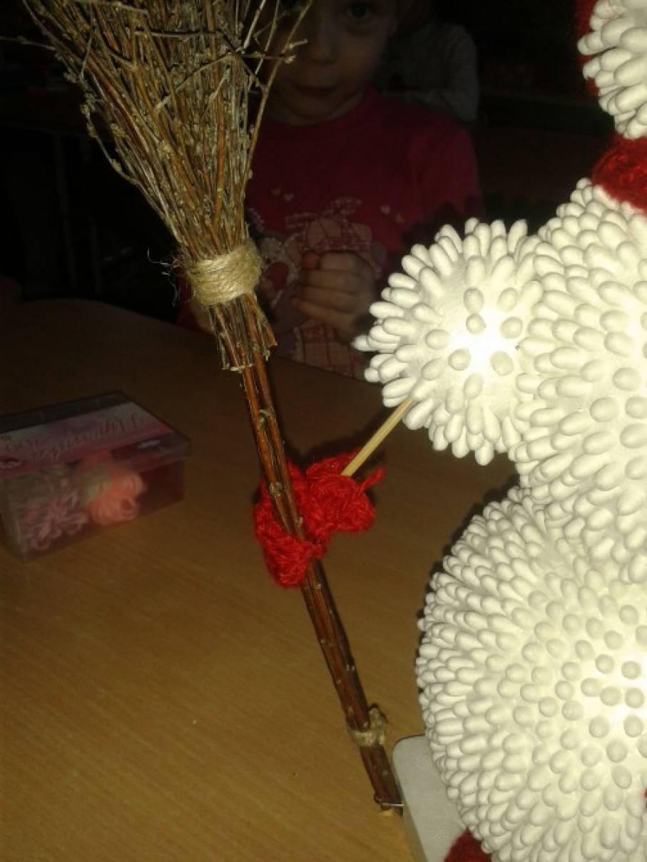 Снеговики из ватных палочек своими руками