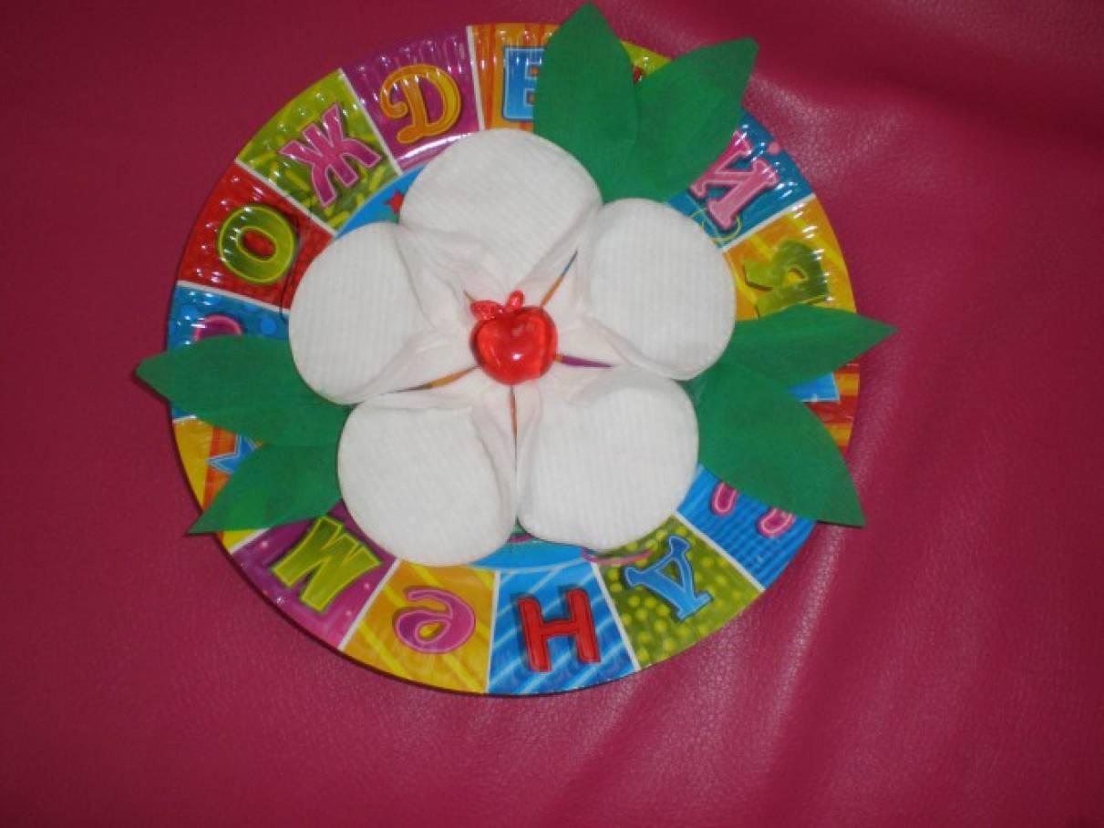 Детские поделки из ватных дисков к дню матери8