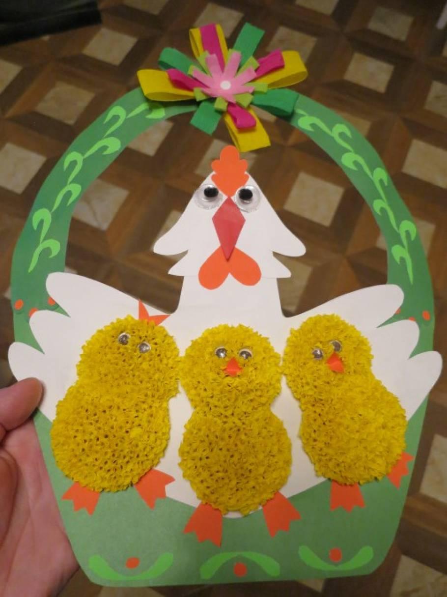 Мастер-класс. Поделка пасхальная «Курица с цыплятами в корзине»
