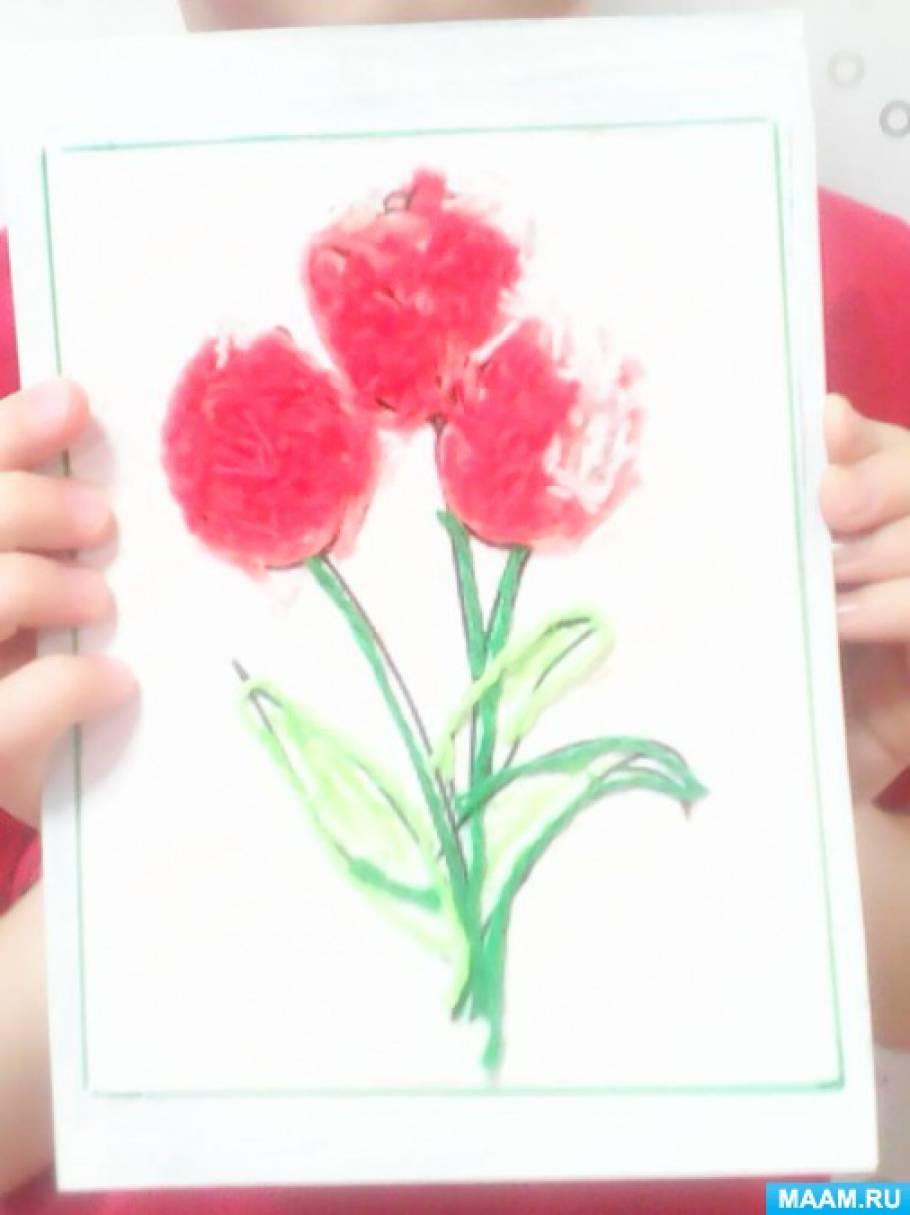 Фотоотчет об изготовлении праздничной открытки «Пушистые тюльпаны»