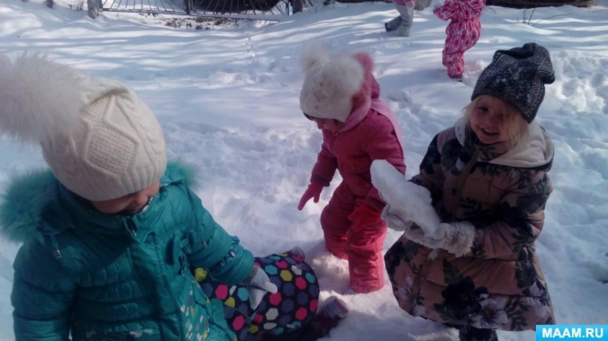 Прогулка во второй младшей группе «Наблюдение за снегом»