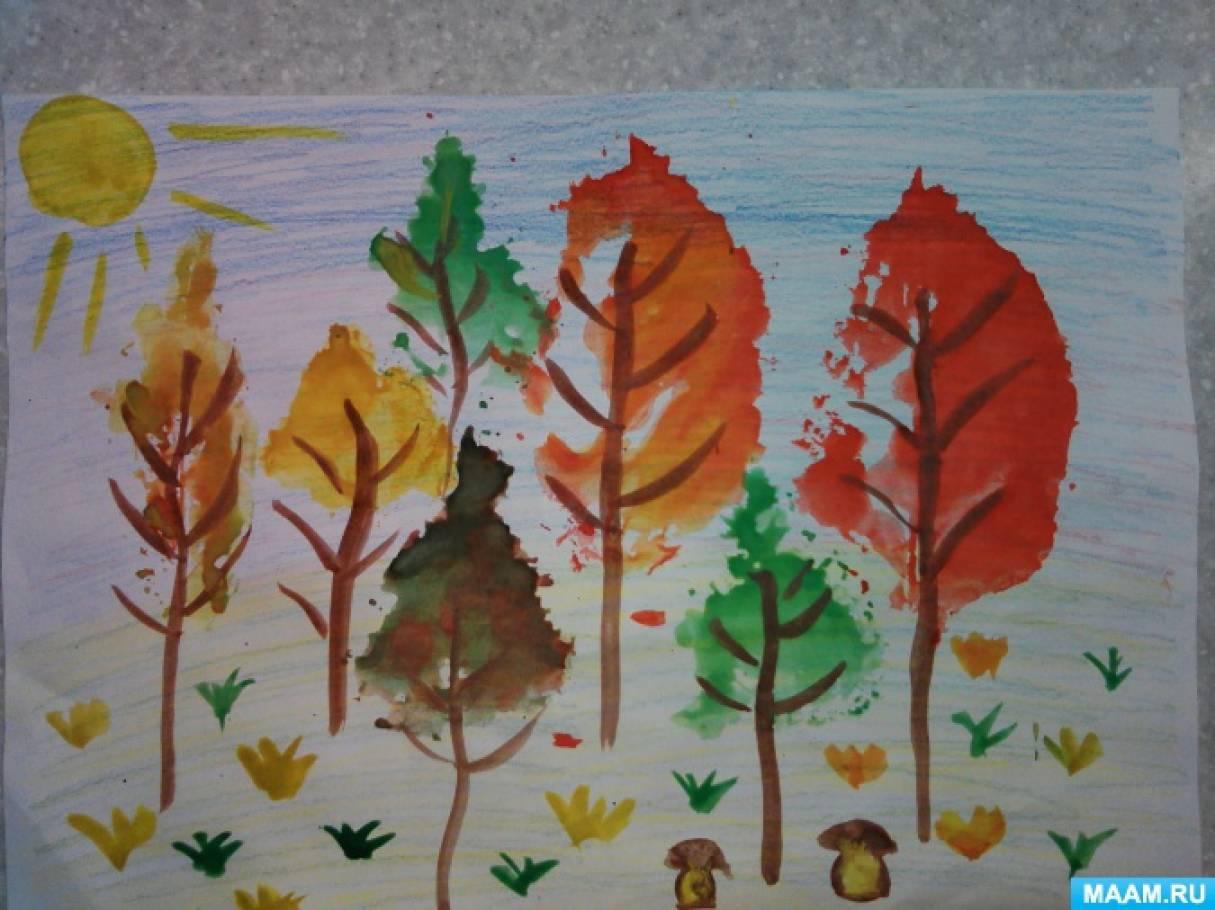Конспект НОД в подготовительной группе по рисованию «Лес, точно терем расписной»