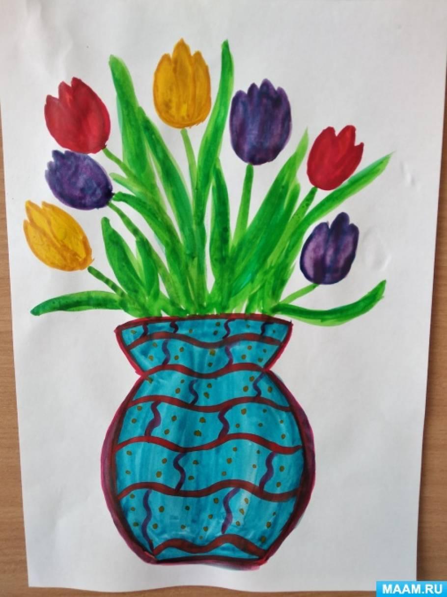 Конспект занятия по изобразительной деятельности в подготовительной группе «Тюльпаны для мамы»