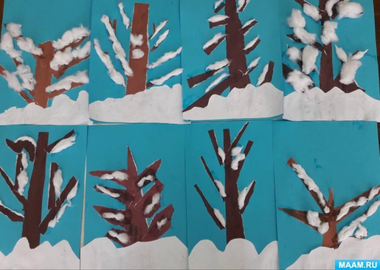 Конспект НОД в старшей логопедической группе с использованием нетрадиционных форм аппликации «Дерево в снегу»