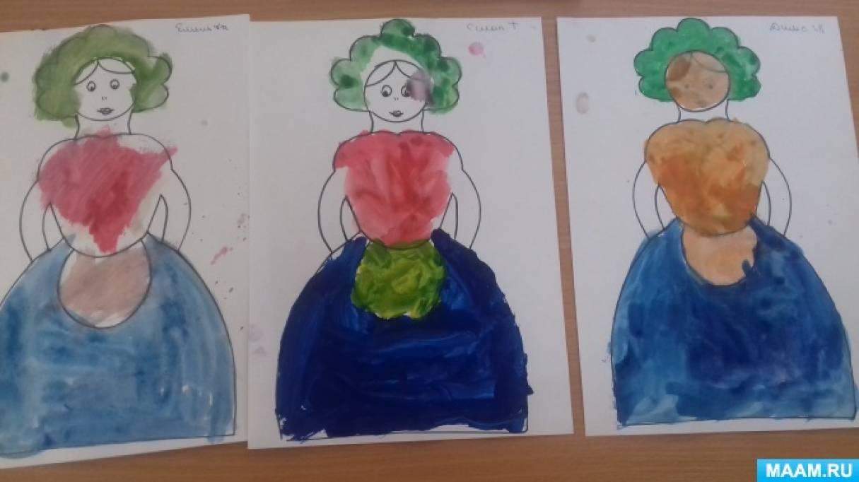 Занятие по рисованию в технике росписи «Девицы-красавицы»