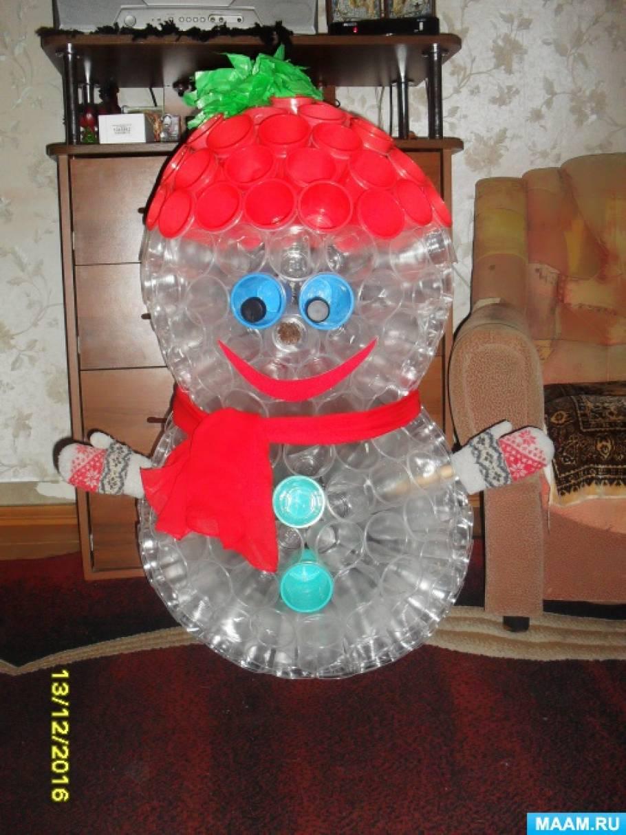 Снеговик из прозрачных пластиковых стаканчиков своими руками фото 565