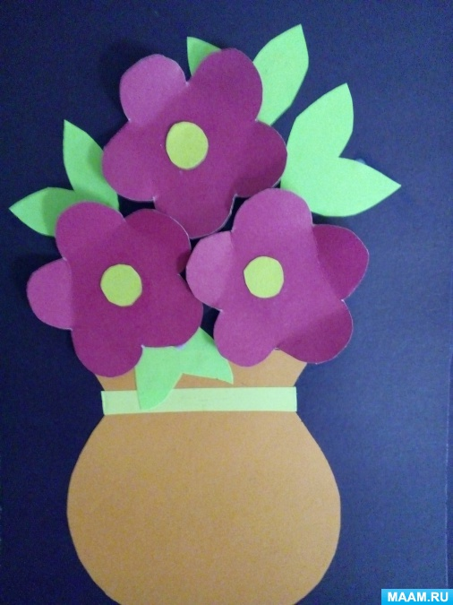 открытка с вазой и цветами из бумаги своими руками этих