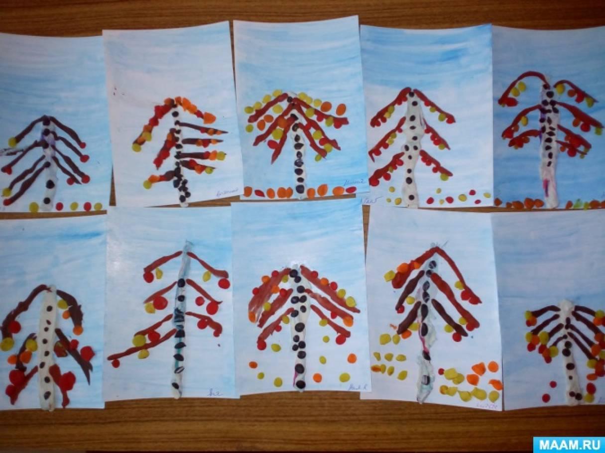 «Осенняя березка». Фотоотчет о лепке из пластилина в старшей логопедической группе