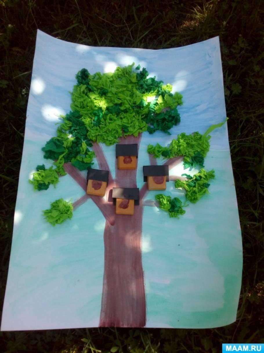 Мастер-класс по аппликации с элементами конструирования «Весеннее дерево со скворечниками»