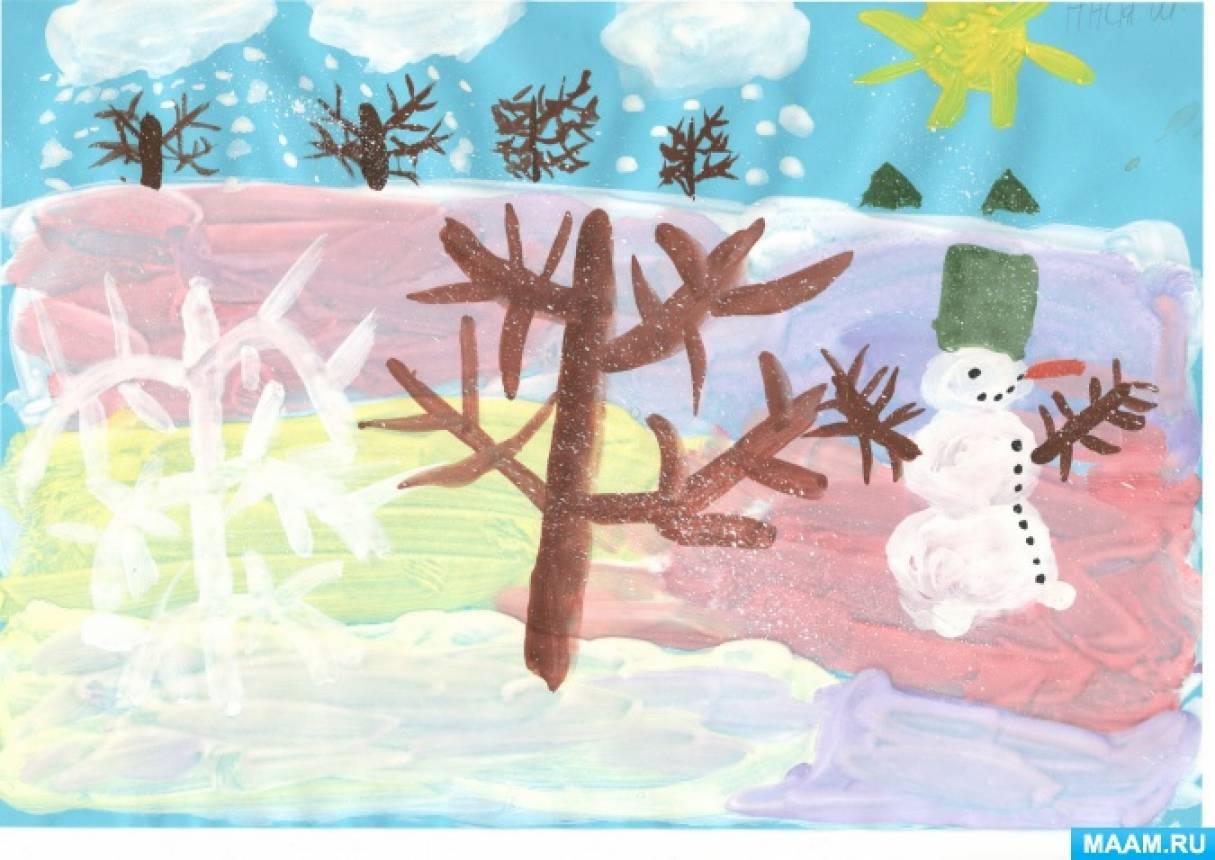 Рисование в подготовительной группе «Зимний пейзаж»