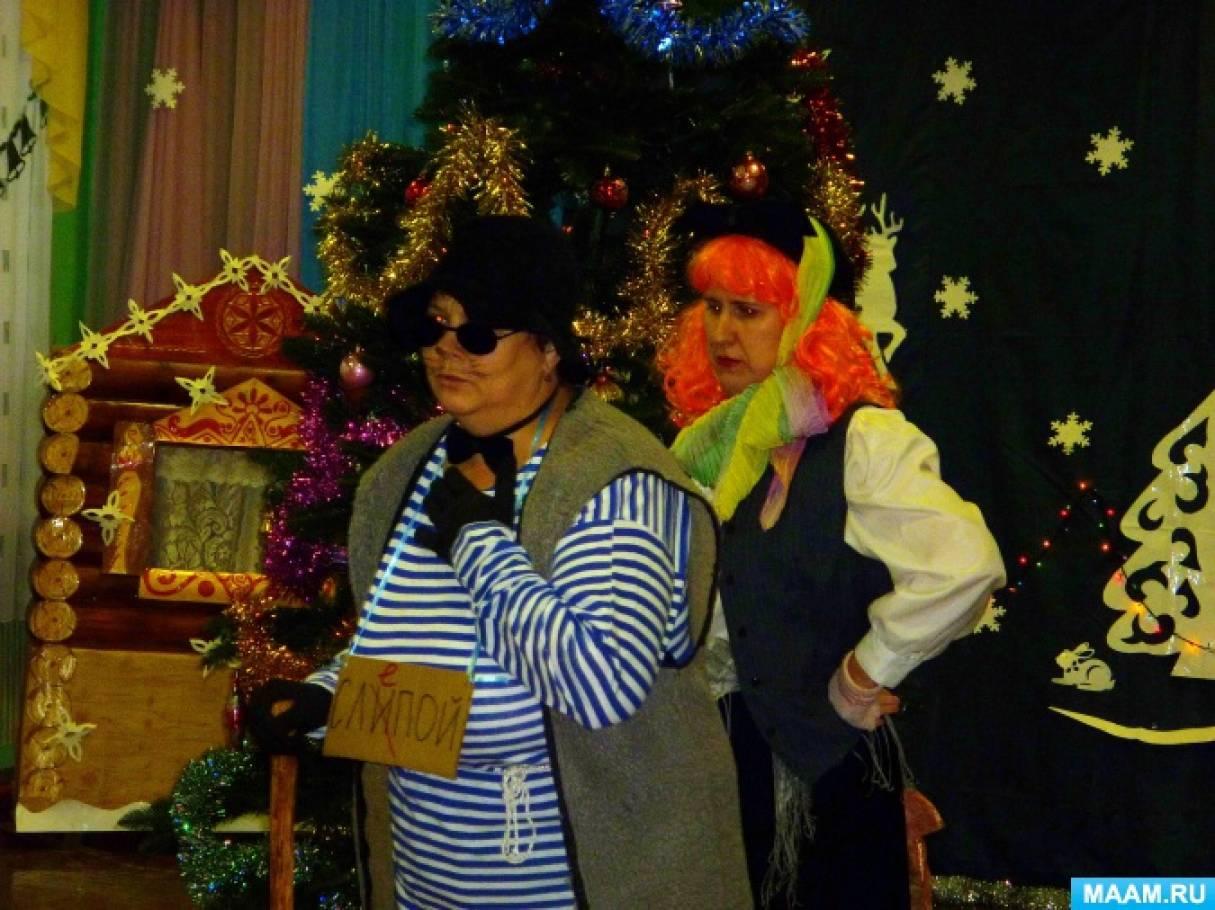 Конспект новогоднего утренника в подготовительной группе «Новогодние приключения Кота Базилио и Лисы Алисы»