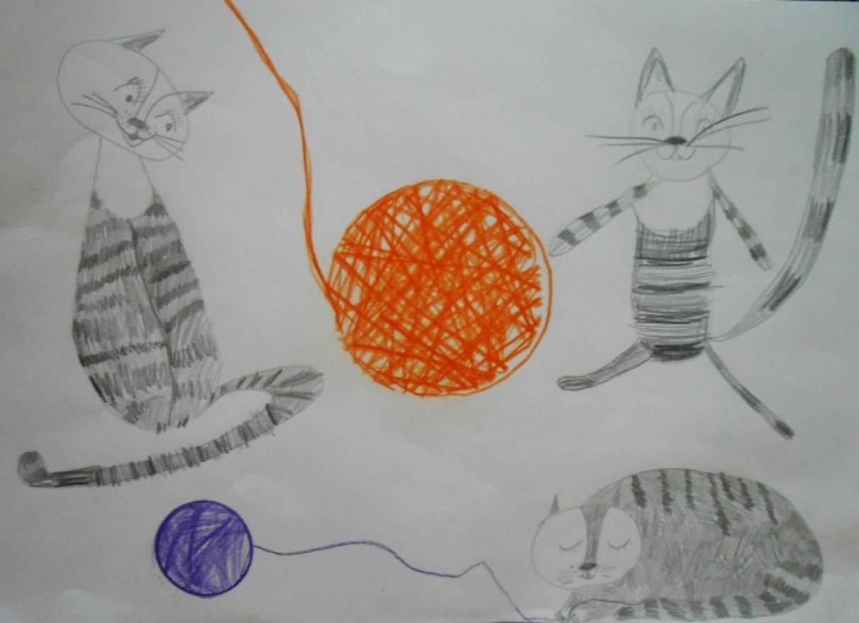 Рисунок кошки мышки в подготовительной группе