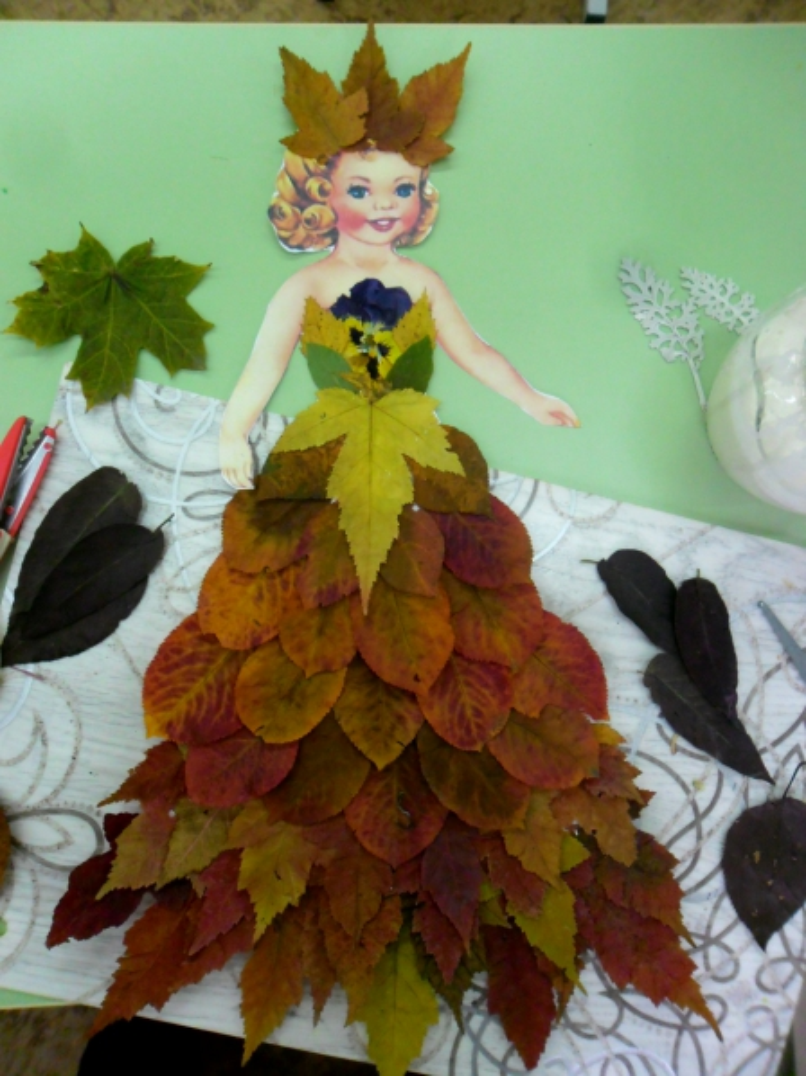 Поделка из листьев девушка осень