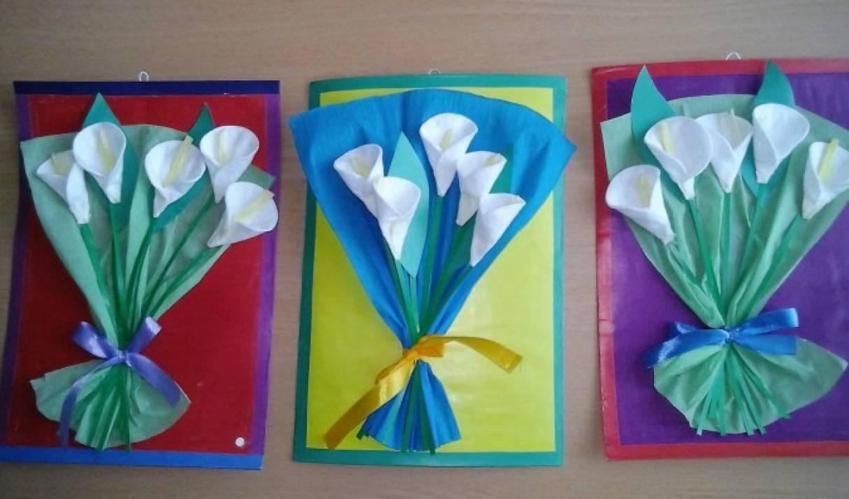 Днем, открытка к 8 марта в детском саду из ватных дисков
