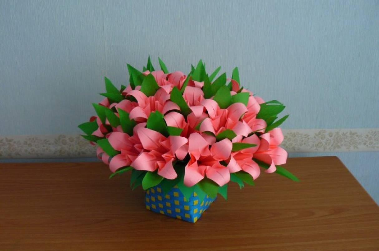 Корзинки для цветов из бумаги как сделать 223