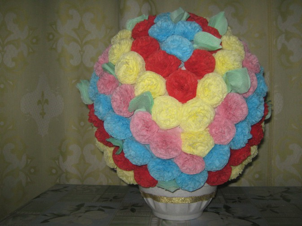 Цветочный шар из салфеток. Пошаговый мастер класс с фотографиями
