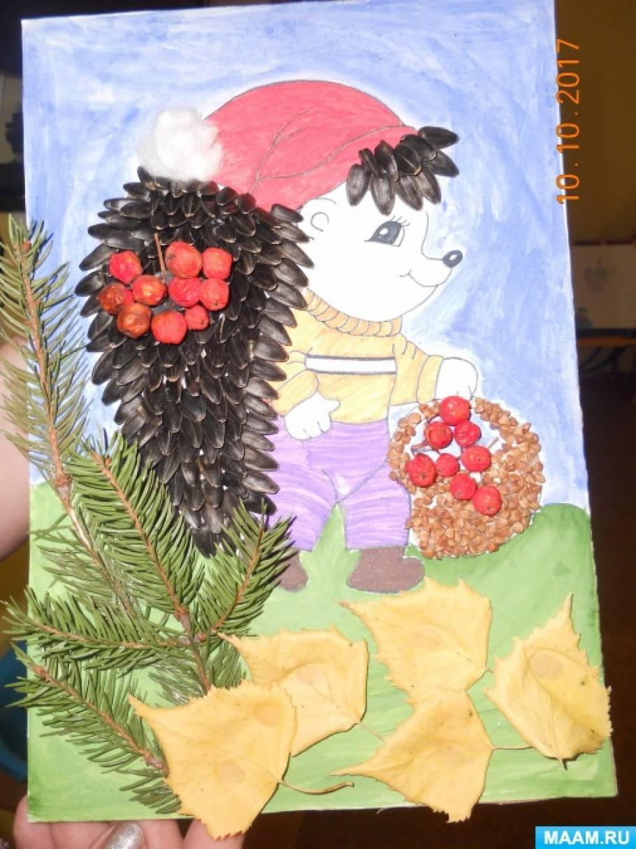 Поделка из природного материала «Еж» из семечек подсолнечника, ягод рябины, березовых листиков, гречки, пластилина