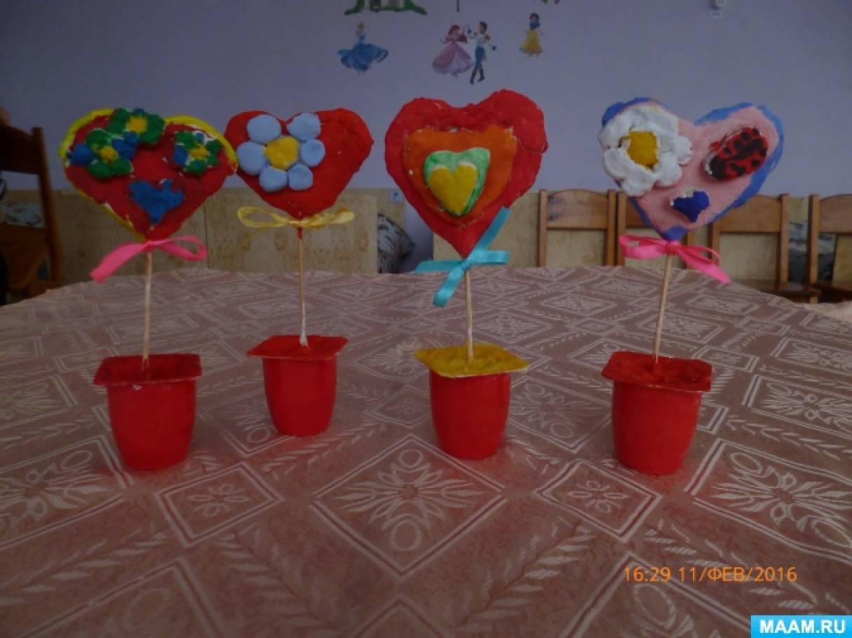 Мастер-класс с детьми старшей группы. Поделка ко Дню влюбленных «Валентинка из соленного теста»