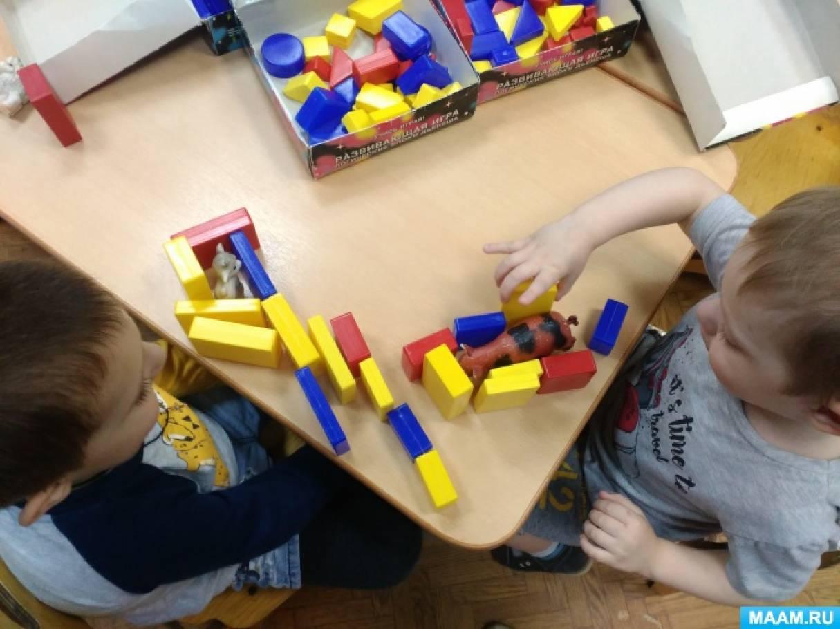 Конструирование во второй младшей группе «Больница для зверюшек» с использованием логических блоков Дьенеша