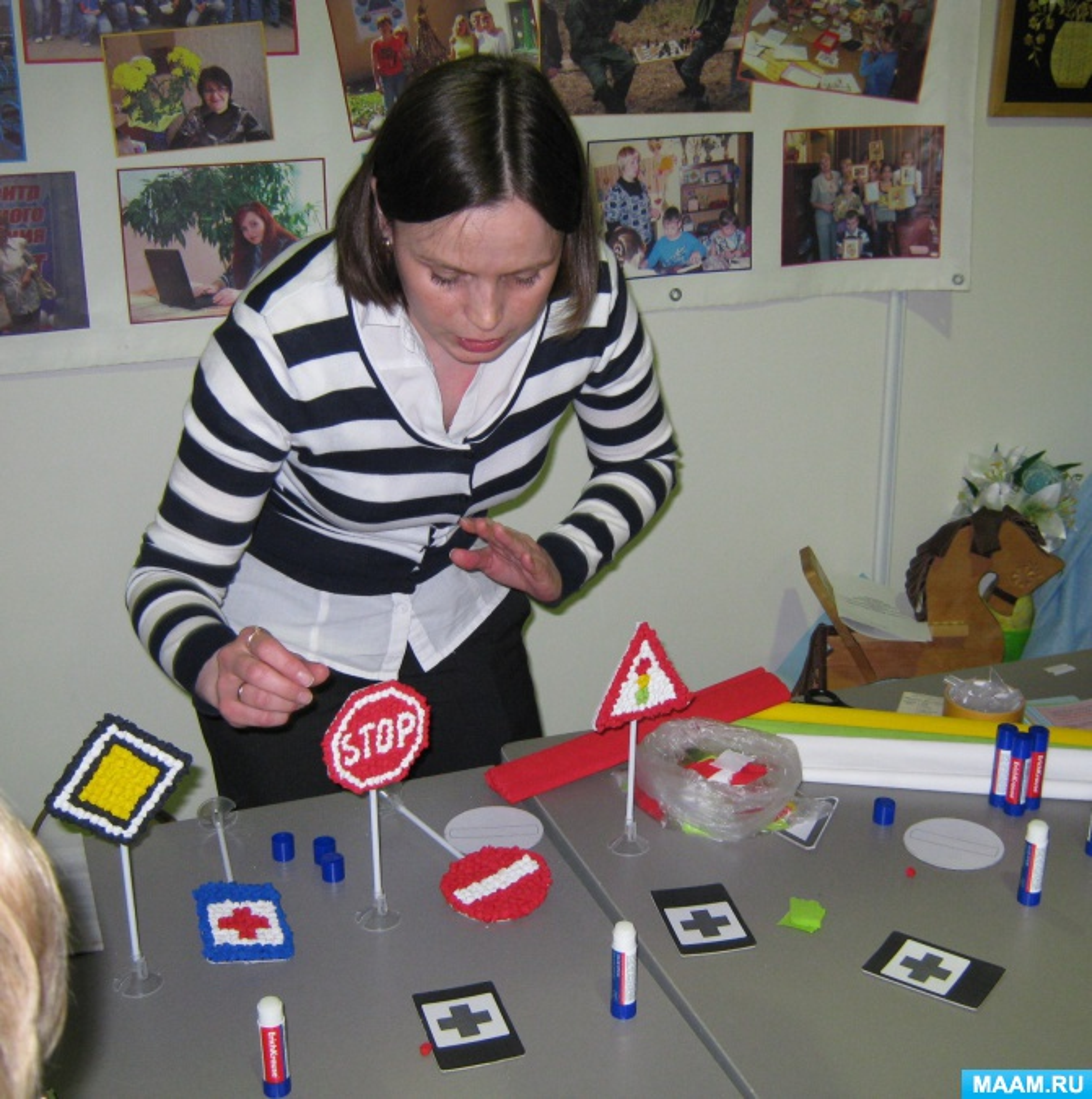 Мастер-класс «Дорожный знак» в технике мозаика из гофрированной бумаги