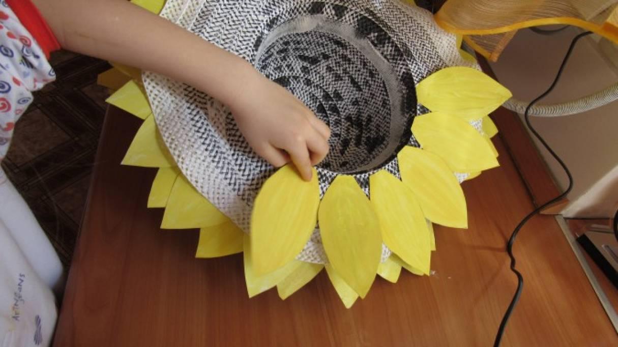 Шляпка подсолнух для девочки своими руками