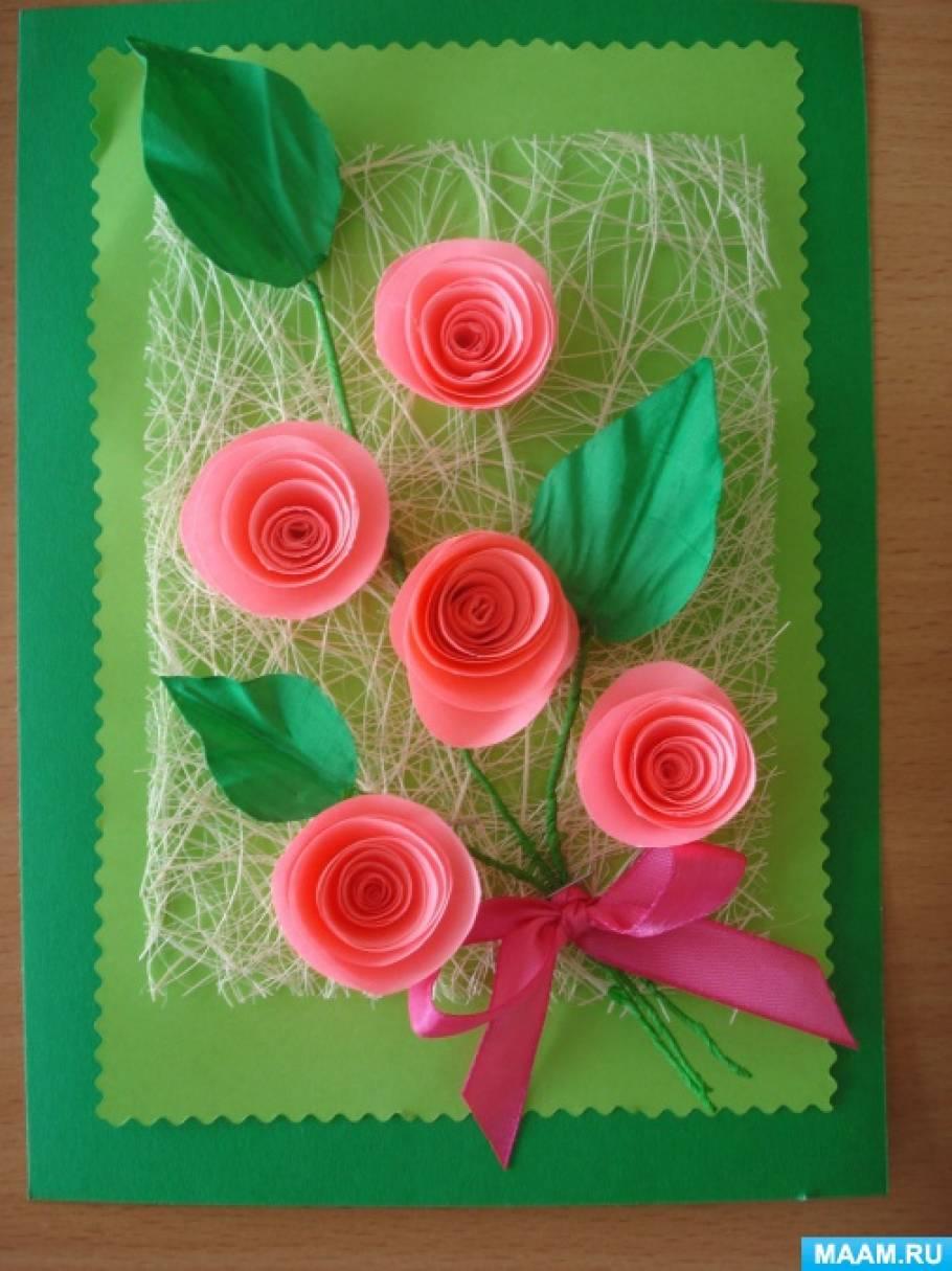 Мне, открытка с цветами на 8 марта из гофрированной бумаги