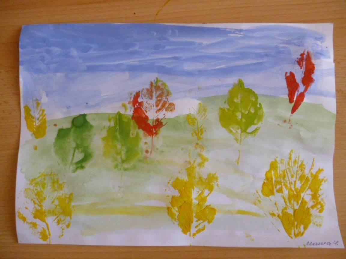 Рисование отпечатками листьев «Осень ...: www.maam.ru/detskijsad/osen-osen-v-gosti-prosim-338911.html