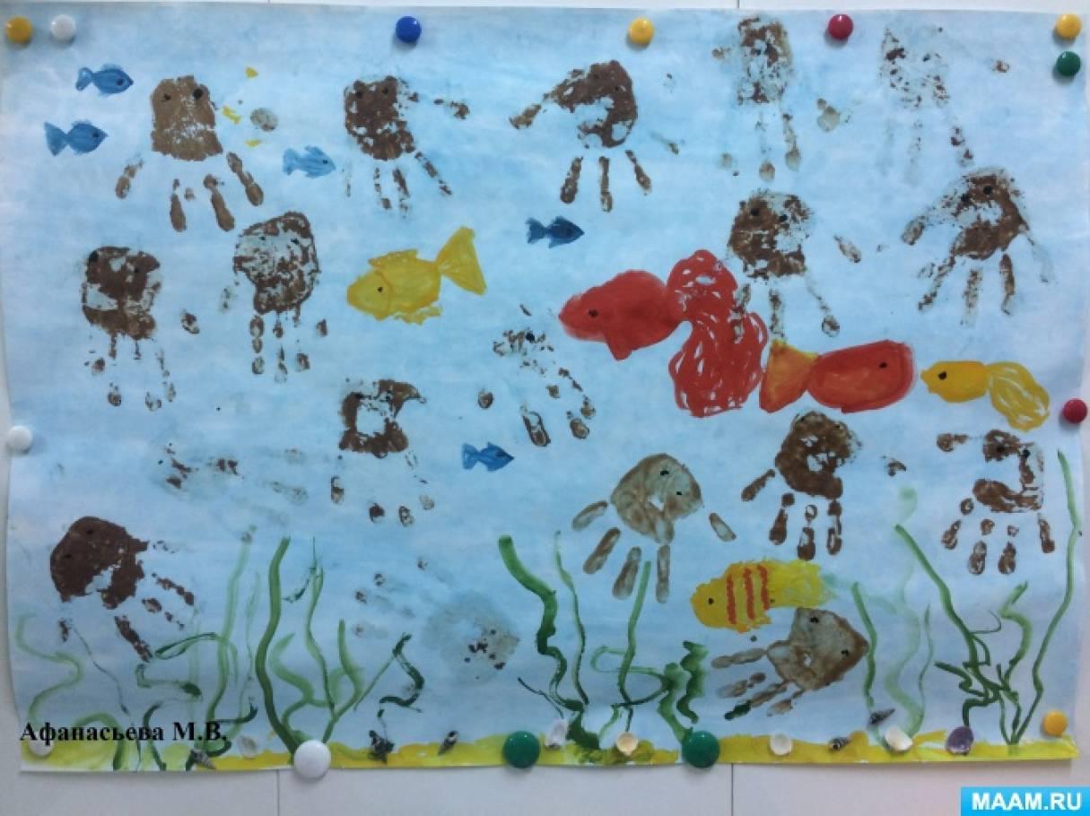 Фотоотчет «Коллективная работа «Подводный мир», нарисованная шоколадом»